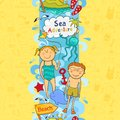 Cute seamless border with beach elements children s in doodle style Stock Images