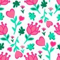 Cute seamless floral love doodles pattern. Hearts, leaves, flowers vector background Royalty Free Stock Photo