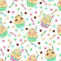 Cute seamless frozen yogurt pattern. Sweet cold desserts vector design. Royalty Free Stock Photo