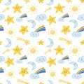 Cute seamless kids pattern with smiling shooting stars, sun, crescent moon and clouds with rainbow