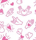 Cute seamless love pattern with Hands love language signs on romantic blue color. Hand drawn in doodle, cartoon style Royalty Free Stock Photo