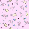 Cute seamless love pattern with mail, wind and post stamps on pink color. Hand drawn in doodle, cartoon style illustrations. Backg Royalty Free Stock Photo