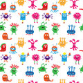 Cute seamless pattern with aliens on a white background