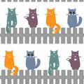 Cute seamless pattern background with cats seating on the fence. Vector illustration