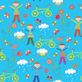 Cute seamless pattern with boy Stock Image