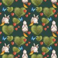 Cute seamless pattern with bunnies and a bush in the shape of a heart. Summer bright with colorful butterflies.