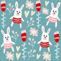 Cute seamless pattern with bunnies, hearts and flowers, illustration background