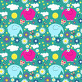 Cute seamless pattern with butterflies and elephants