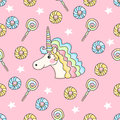 Cute seamless pattern with candy, stars, donuts and unicorn.