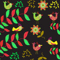 Cute seamless pattern with cartoon bird and flower in swatch menu can be used for wallpapers Stock Photos