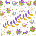 Cute seamless pattern with cartoon bird and flower in swatch menu can be used for wallpapers Stock Photo