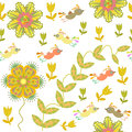 Cute seamless pattern with cartoon bird and flower in swatch menu can be used for wallpapers Royalty Free Stock Photo