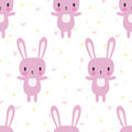 Cute seamless pattern with cartoon bunny. Cartoon baby animals. Funny background for little girls and boys