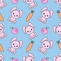 Cute seamless pattern with cartoon funny rabbits. Childish background. Vector kawaii illustration.