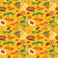 Cute seamless pattern with cat and chiken. Floral summer background with farm animals and insects.
