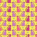 Cute seamless pattern with cats and bows.