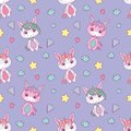 Cute seamless pattern for children with chubby white cartoon unicorns, stars, hearts, diamonds and clouds on light violet backgrou