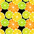 Cute seamless pattern of citrus fruits lemon and lime with simple textures of friendly colors