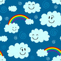 Cute seamless pattern clouds rainbows Royalty Free Stock Photography