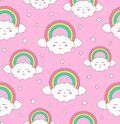 Cute seamless pattern, clouds with rainbows and stars