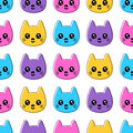 Cute seamless pattern with colorful cat faces smiling Stock Image