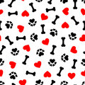 Cute seamless pattern with dog bone, paw print and red heart, transparent background Royalty Free Stock Photo