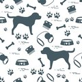 Cute seamless pattern with dog silhouette, bowl, traces, bone, b