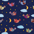 Cute seamless pattern with fantastic birds Stock Photography