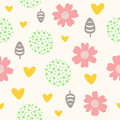 Cute seamless pattern with flowers, leaves, hearts and dots.