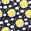 Cute seamless pattern with funny moon, clouds and stars.