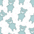 Cute seamless pattern with funny teddy bear. vector illustration