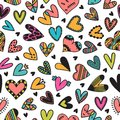 Cute seamless pattern with hand drawn hearts. Cute doodle elements. Background for wedding or Valentine`s Day design