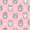 Cute seamless pattern with hand drawn owls