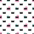 Cute seamless pattern with hearts and crowns. Vector illustration.