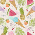 Cute seamless pattern with ice creams, pineapples.