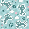 Cute seamless pattern with kittens floating Royalty Free Stock Image