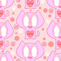 Cute seamless pattern with kittens pink Royalty Free Stock Photography