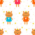 Cute seamless pattern with little tigers. Children background
