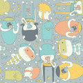 Cute seamless pattern with lovely doodle monsters eating, staying and looking at spectator. Colorful creatures on grey background.