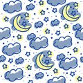 Cute seamless pattern with moons clouds and stars Royalty Free Stock Photography