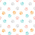Cute seamless pattern with paw prints. Animal background. Royalty Free Stock Photo