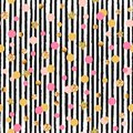 Cute seamless pattern with pink and golden circles and stars, black and white stripes