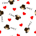 Cute seamless pattern with pug dog, text I love and red heart, transparent background Royalty Free Stock Photo