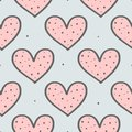 Cute seamless pattern with repeating hearts and round dots. Drawn by hand, sketch, doodle.