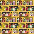 Cute seamless pattern with road and cartoon houses colorful Royalty Free Stock Images