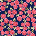 Cute seamless pattern with roses, floral  illustration background Stock Photos