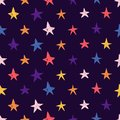 Cute Seamless pattern with space elements. Cartoon style wallpaper with colourful cosmic stars. Children`s background Royalty Free Stock Photo