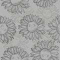 Cute seamless pattern with sunflowers abstract gray black and white many similarities to the author s profile Royalty Free Stock Photo