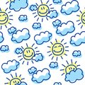 Cute seamless pattern with suns and clouds Royalty Free Stock Photo