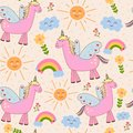 Cute seamless pattern with unicorn